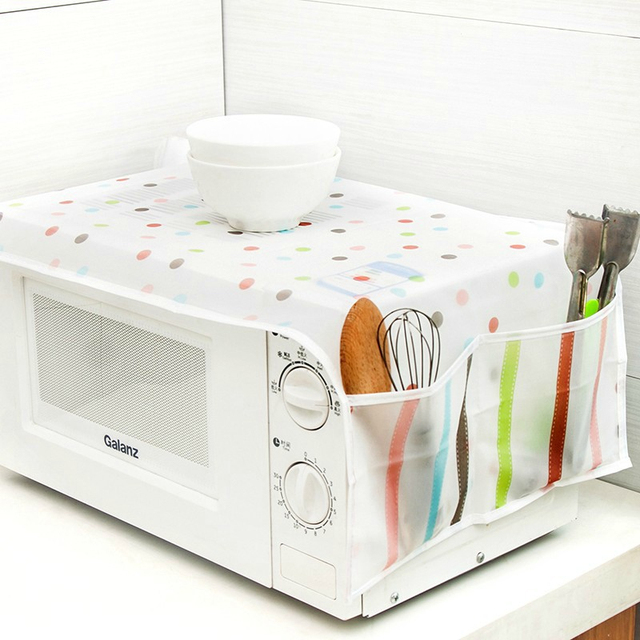 Colorful Microwave Oven Cover Waterproof And Oil Proof Dust Double Pocket