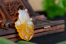 Chalcedony Gold Fish Jade Necklace Pendant Hand Carved Lucky Blessing Necklace Pendant Fine Jewelry wholesale fine purple crystal pendants carved gold fish pendant sweater chain necklace luck for women men noble jewelry