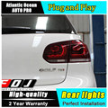 AUTO. PRO Para vw golf 6 luces traseras 2009-2013 modelo Para VW golf MK6 R20 luces traseras led coche que labra la cubierta drl + señal + freno + reversa