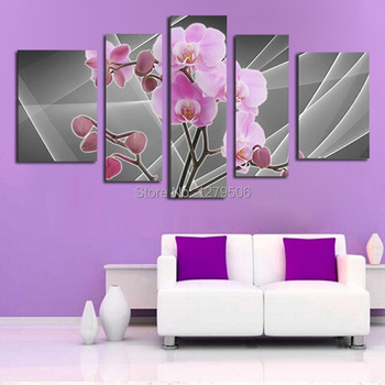 5 Pcs/set 100% Hand-painted Mirror Flower Art Decoration Oil Painting On Canvas Wall Pictures For Living Room