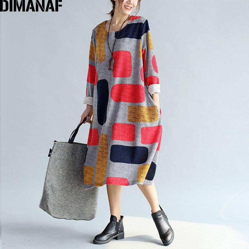Dimanaf Women Dress Autumn Plus Size Colorblock Plaid Print Cotton