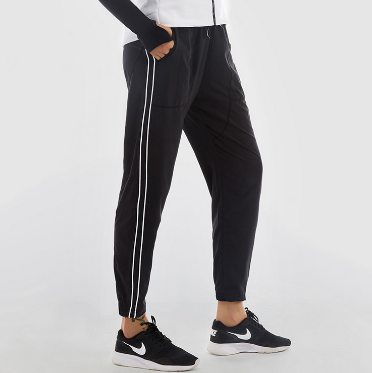 New 2017 Womens Sports Trousers Running Gym Fitness Pants Female Loose Dry Quick Workout Leggings Capris Lace-up Pants