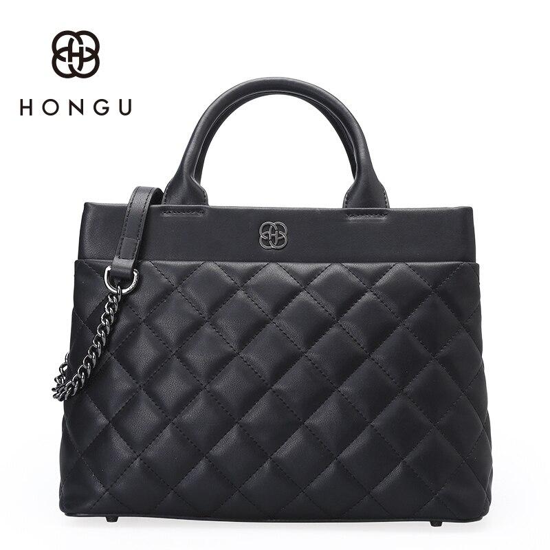 Hongu Genuine Leather luxury Handbags Women Bags Designer Diamond Plaid Tote handbag Women Famous Brand Lady Simple Shoulder Bag
