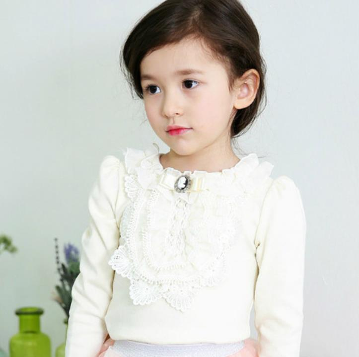 Thicken Autumn Sweet Baby Kids Girls Lace Pearl T shirt With Velvet Fashion Bow Tops Tees Cotton T-shirts Child Casual Clothes 2018 summer tops korean fashion t shirt women two piece set sexy beading sequin vest white velvet t shirts high quality clothes