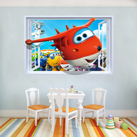 Toys Stickers Super Wings Removable 90*60cm PVC Sticker For Children Room For children Birthday Present