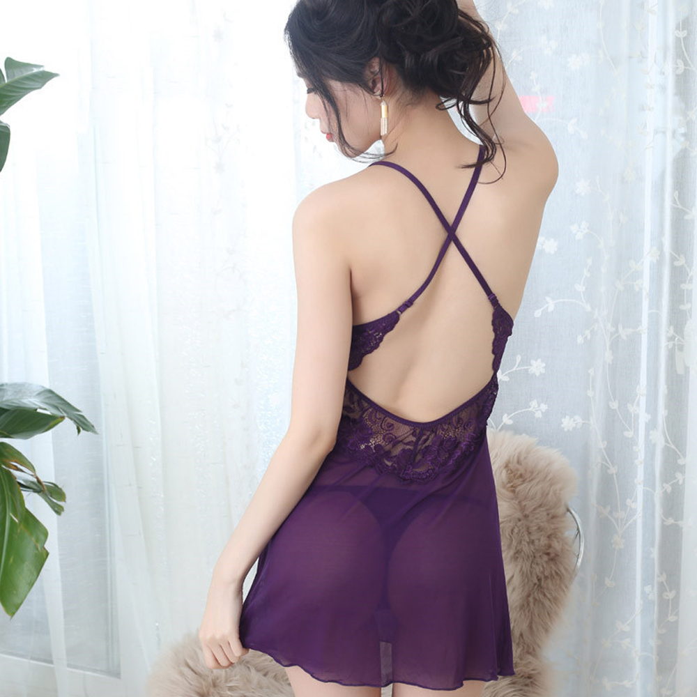 2018 New Lace Deep V-Neck Perspective Net Sexy Lingerie Sexy   Pajamas   Halter Lace Nightgown Lace Sleepwear   Pajamas     Set