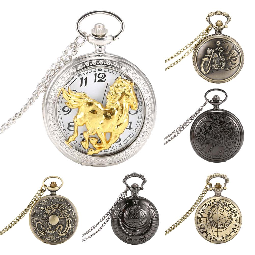 Fashion Men Women Pocket Watch Alloy Openable Hollow Carved Vintage Unisex Quartz Necklace Pendant Chain Clock TC21