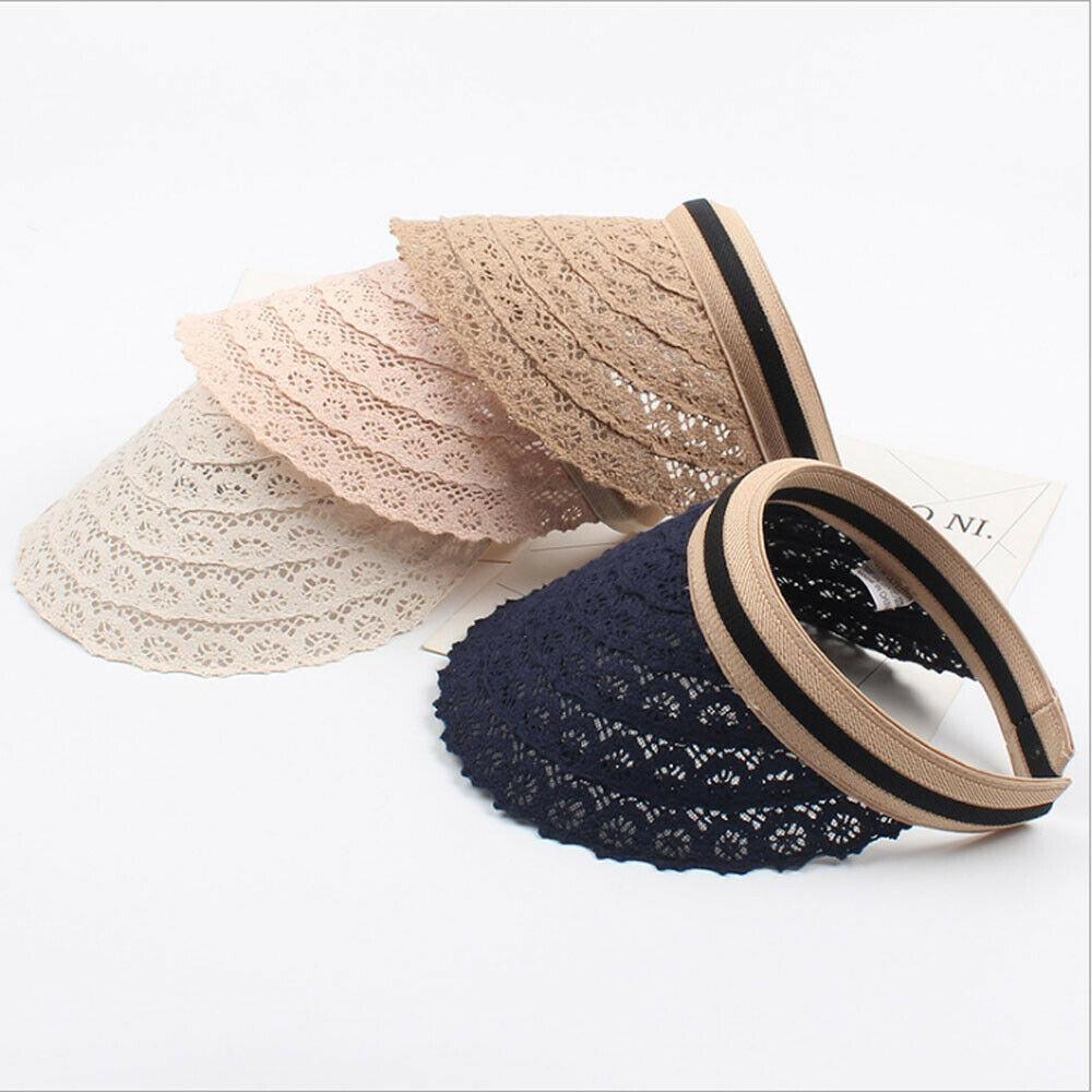 Fashion Female Visor Caps DIY Summer Cap Hollow Flower Pattern Lace Casual Shade Hat Empty Top Hat Beach Woman's Sun Hats