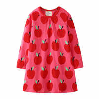 Jumping Meters New Brand Apple Long Sleeve Dresses For Baby Girls Clothing Cotton Autumn Spring Princess Party Cute Girl Dresses