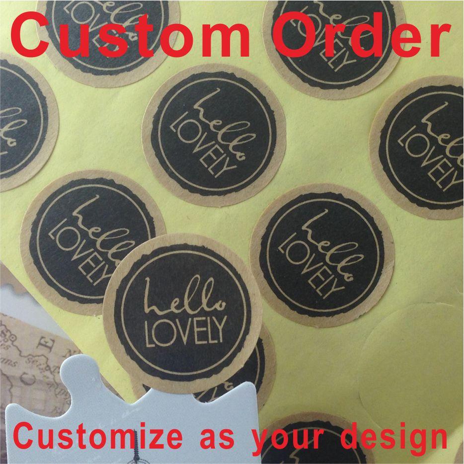 1000pcs lot custom kraft sticker label printing self adhesive shipping labels customize sticker label stickers