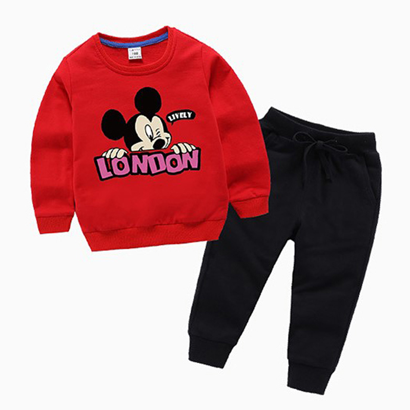 Boys Girls Cotton Sweatshirt Long Sleeve Tops Cartoon Mickey Fall T-shirts for kids Baby trousers autumn child Sets Clothes ad children s mickey thick sets 2 10 age cotton sweater pants boys girls christmas t shirts trousers kids clothing clothes
