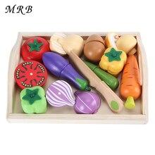 Деревянные кухонные игрушки, резка фруктов, овощей, миниатюрная еда, обучающая игрушка, подарок, Детский обучающий игрушка