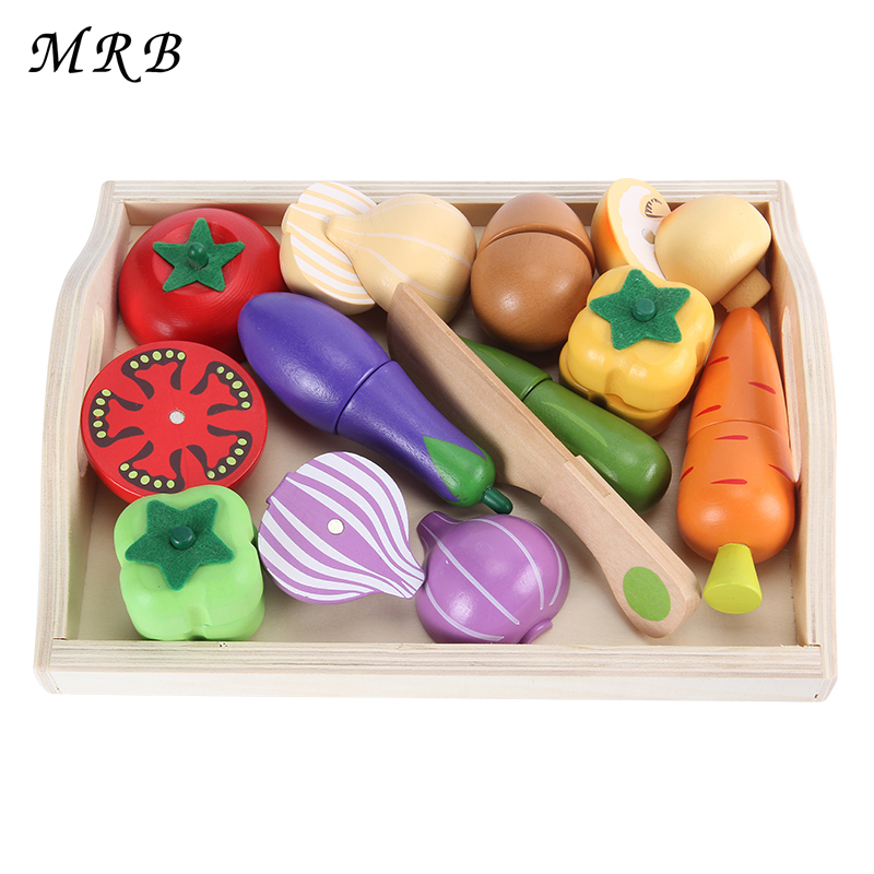 Wooden Kitchen Toys Cutting Fruit Vegetable Play miniature Food educational toy Gift Children Kid Educational Toy