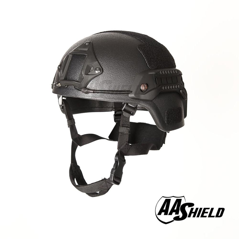 AA Shield Ballistic MICH Tactical Version Teijin Helmet Color Black Bulletproof Aramid Safety NIJ Level IIIA