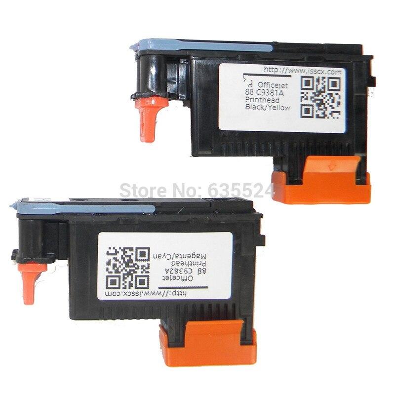 (2pcs/set)/Lot For HP88 C9381A+C9382A Printhead Black / Yellow + MAGENTA / CYAN For HP L7580 7590 K5400 K550 Printer