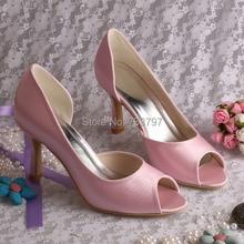Wedopusสีชมพูรองเท้าแต่งงานผู้หญิงส้นสูงโดยไม่ต้องตกแต่งที่กำหนดเองที่ทำด้วยมือ