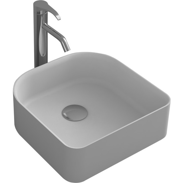 Rectangular Bathroom Above Counter Vessel Sink Matte White Solid Surface  Stone Washbasin RS38175 480