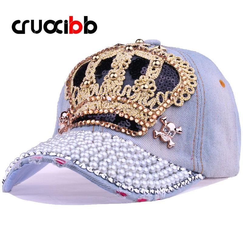 Prix pour CRUOXIBB 2015 Nouveau Femmes Casquette de baseball Hommes Couronne Forage Perle Cowboy Denim Chapeau Snapback Cap Simulation Diamant Casquette Unisexe Cap