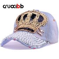 CRUOXIBB 2017 Neue Frauen Baseball-kappe Männer Crown Drill Perle Cowboy Denim Hut Hysteresenkappe Simulation Diamant Casquette Unisex Kappe