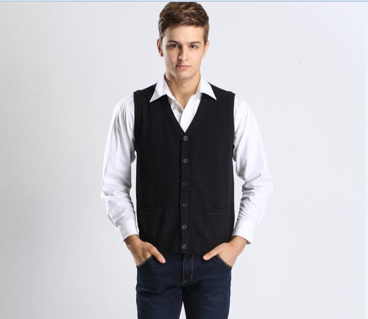 Autumn and Winter New Casual Solid Color V Neck Men Sleeveless ...