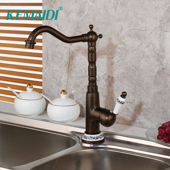 KEMAIDI New Kitchen Faucet Sink Mixer Deck Mounted Roman Bronze Brass  360 Swivel Antique Brass Basin Mixer