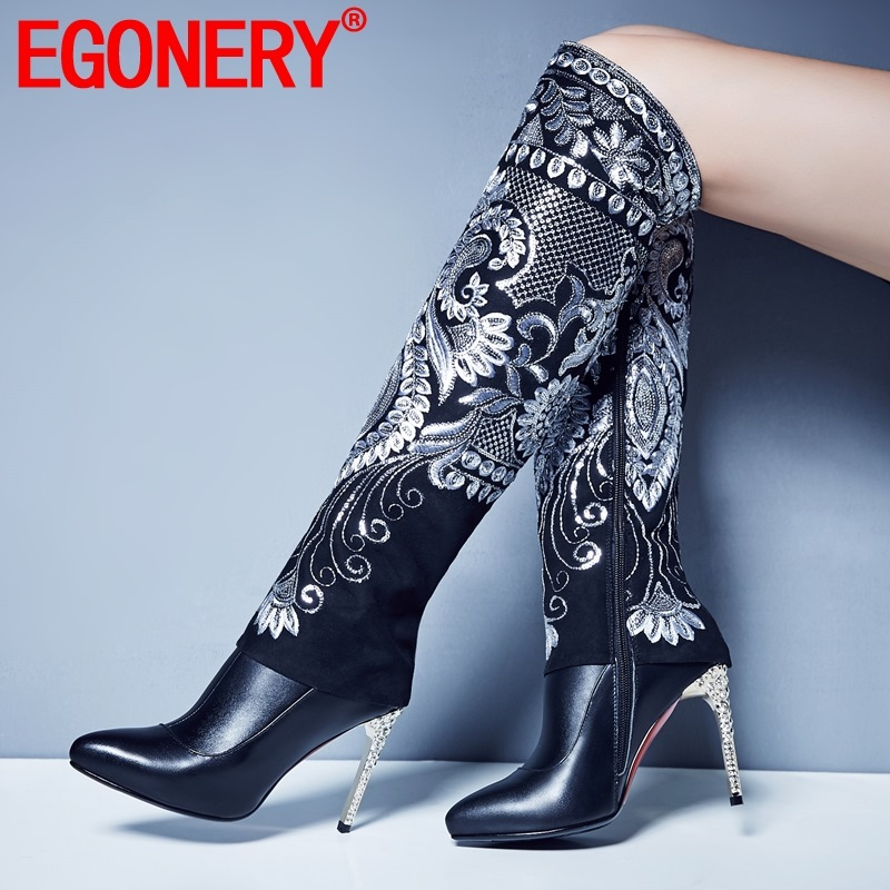 EGONERY woman shoes 2019 winter new fashion sexy pointed toe genuine leather knee high boots outside super high heels zip shoes