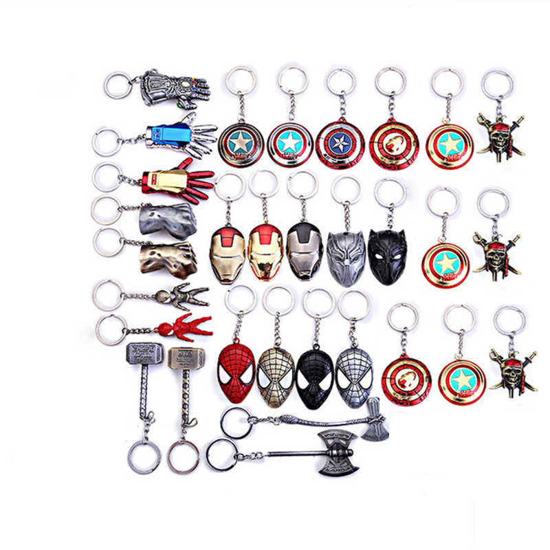 New Marvel Avengers Keychain Captain America Spider man Iron man Hulk Batman Shield Mask Metal Keyring Key Bag Accessories Gifts