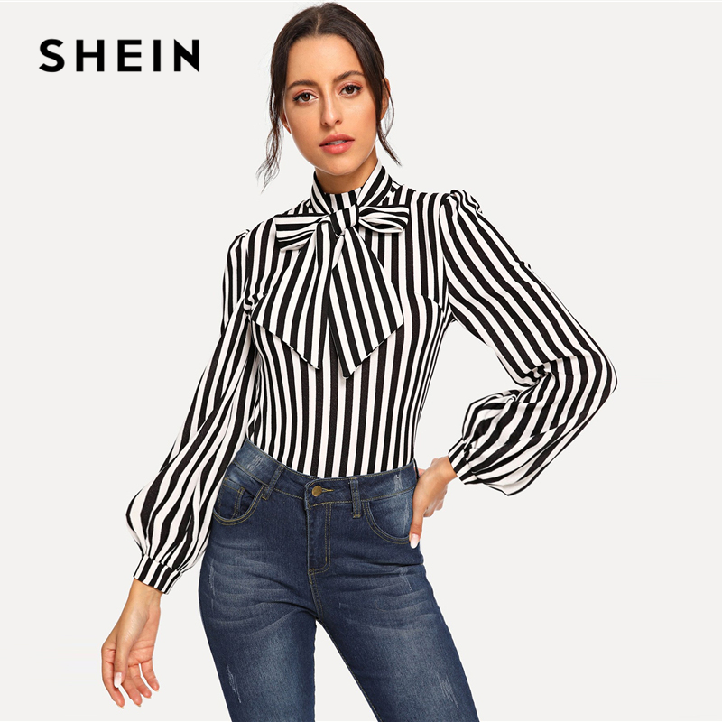 SHEIN Elegant Black And White Stand Collar Tie Neck Striped Top Women Autumn Solid Workwear Weekend Casual Minimalist Blouses