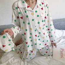 Kobiety jesień wiosna Pijamas nowa moda bawełna piżamy zestaw Kawaii japoński koreański styl kredka Shin chan piżamy bielizna nocna