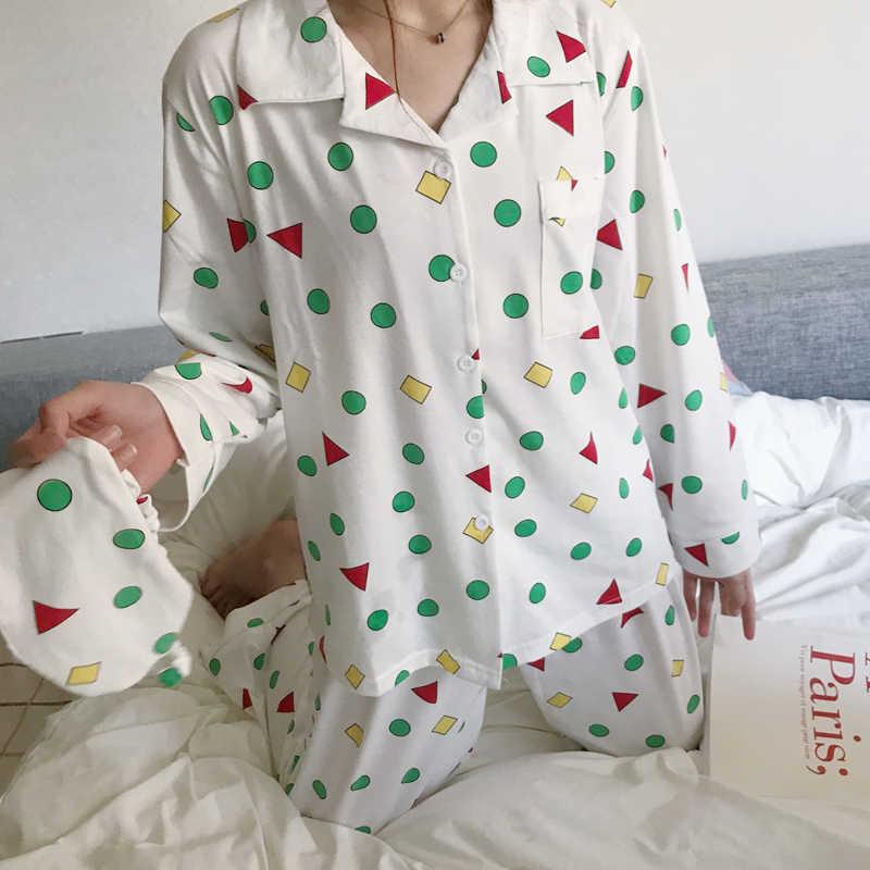 296cfc0789 Women Autumn Spring Pijamas New Fashion Cotton Pajamas Set Kawaii Japanese  Korean Style Crayon Shin chan