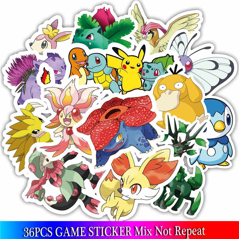 36PCS Pokemon Anime Game Stickers Animal stickers For Luggage Skateboard  Bicycle Fridge Laptop Cute Cartoon Sticker Set
