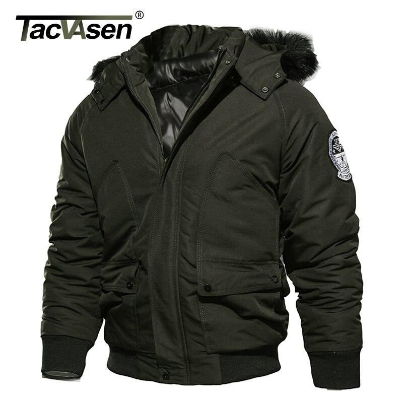 TACVASEN marque hommes hiver veste militaire armée thermique à capuche pilote veste manteau plus épais décontracté Parkas Bomber coton manteau-in Vestes from Vêtements homme    3