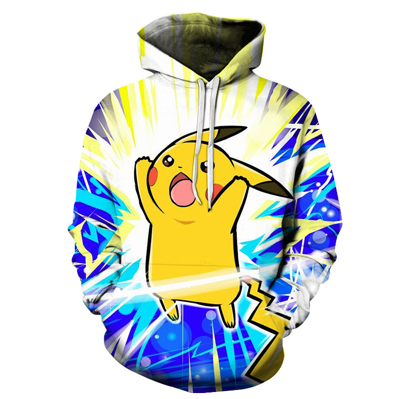 3D cartoon Pikachu men's hoodie 2019 autumn and winter new fashion youth men and women casual hooded sweatshirt Casual pullover