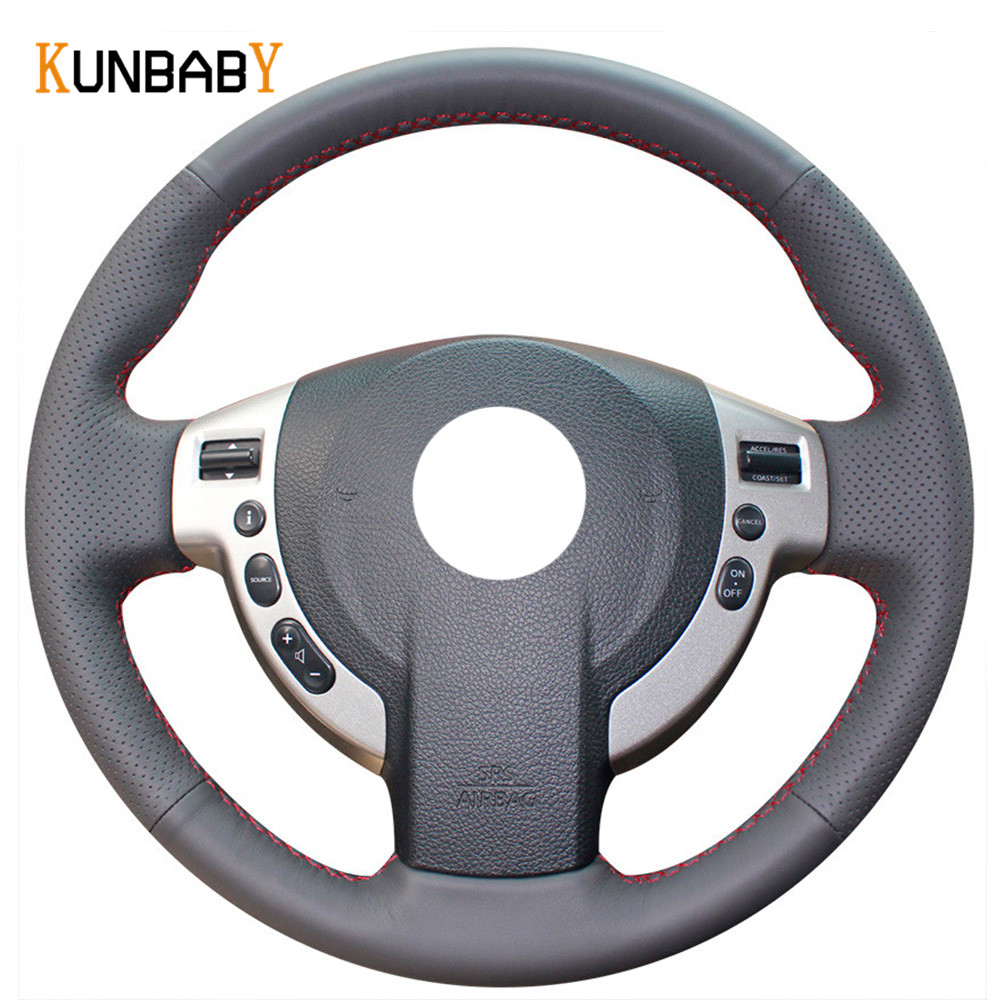 KUNBABY Genuine leather Color Black Red Car Steering Wheel Cover for Nissan QASHQAI X-Trail NV200 Rogue