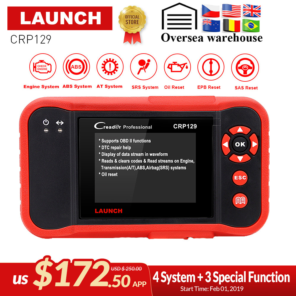 Car Panel Removal Tool As Gift LAUNCH OBD2 Scanner,CRP123 OBDII Code Reader Read Reset Engine ABS SRS Transmission Code crp123 obd2 Scanner,Free Update