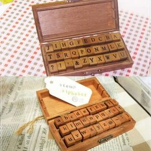 Image 2 - Romantic Handwriting Alphabet Letter Wooden Stamp Set Retro Vintage Craft Alphabet Letter Number Rubber Stamp Set Wooden Box