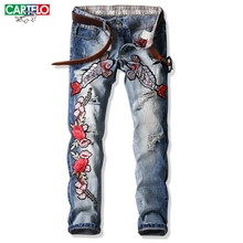 CARTELO men Europe new men's jeans straight Slim light blue men's trousers embroidery holes patch male jeans