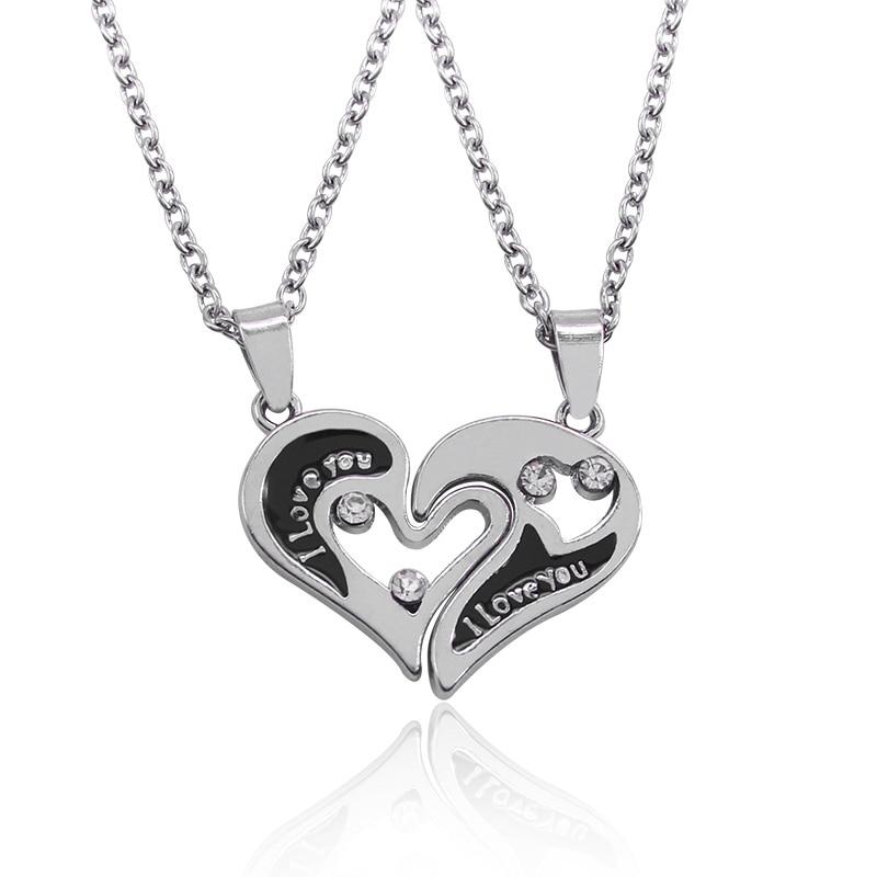 i love you heart shape pendant couple necklaces