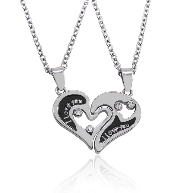 2017 Hot I Love You Heart Shape Pendant Necklaces 2 Parts Broken Heart Crystal Choker Necklace For Lover Couple Jewelry