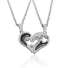 2pcs/set I Love You Jewelry Hollow Broken Heart Rhinestone Pendant Couple Necklaces Best Friends BFF Lover Valentines Day Gift