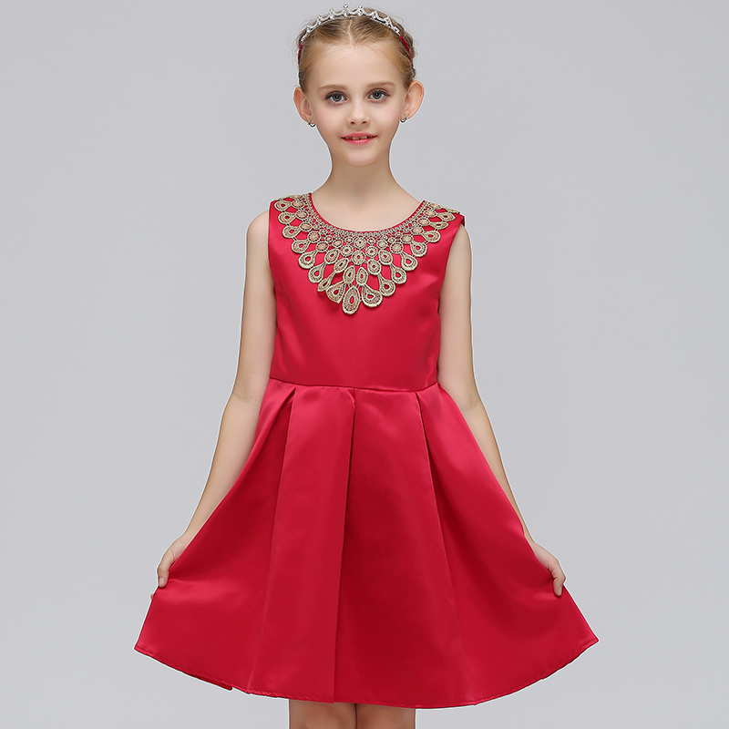 Retail Girls Boutique clothing peacock collar frocks fancy girl evening party dress L-573