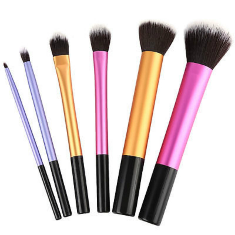 6 PCS Makeup Brushes Set Tools Make-up Toiletry Kit Wool Brand Make Up Brush Set Case Cosmetic Foundation Brush big discount 32 pcs cosmetic facial make up brush kit makeup brushes tools set black leather case free shipping