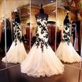 Черное кружево аппликация русалка вечерние платья кружева милая Ruched 2016 спинки пром платье длиной до пола