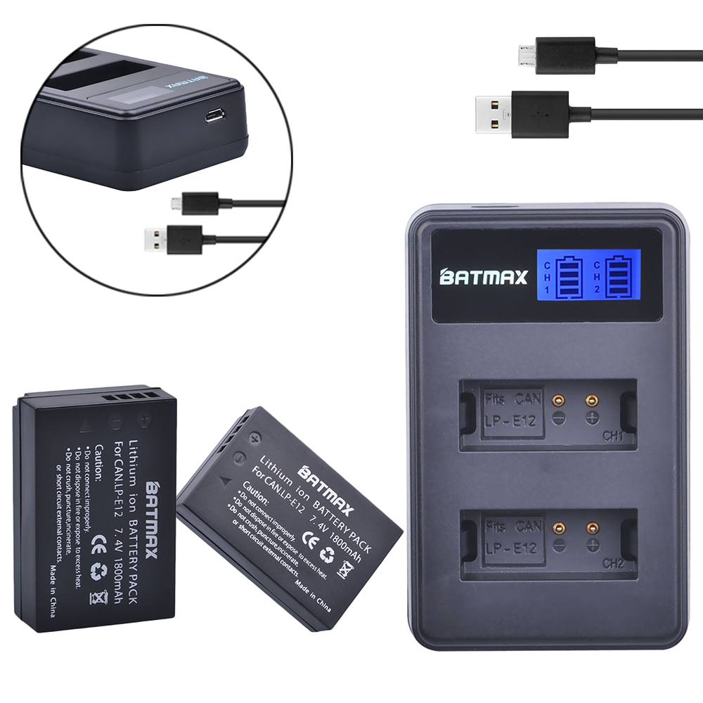 2Pcs 1800mAh LP-E12 LPE12 LP E12 Camera Battery AKKU + LCD USB Charger for Canon M 100D Kiss X7 Rebel SL1 EOS M10 EOS M50 DSLR