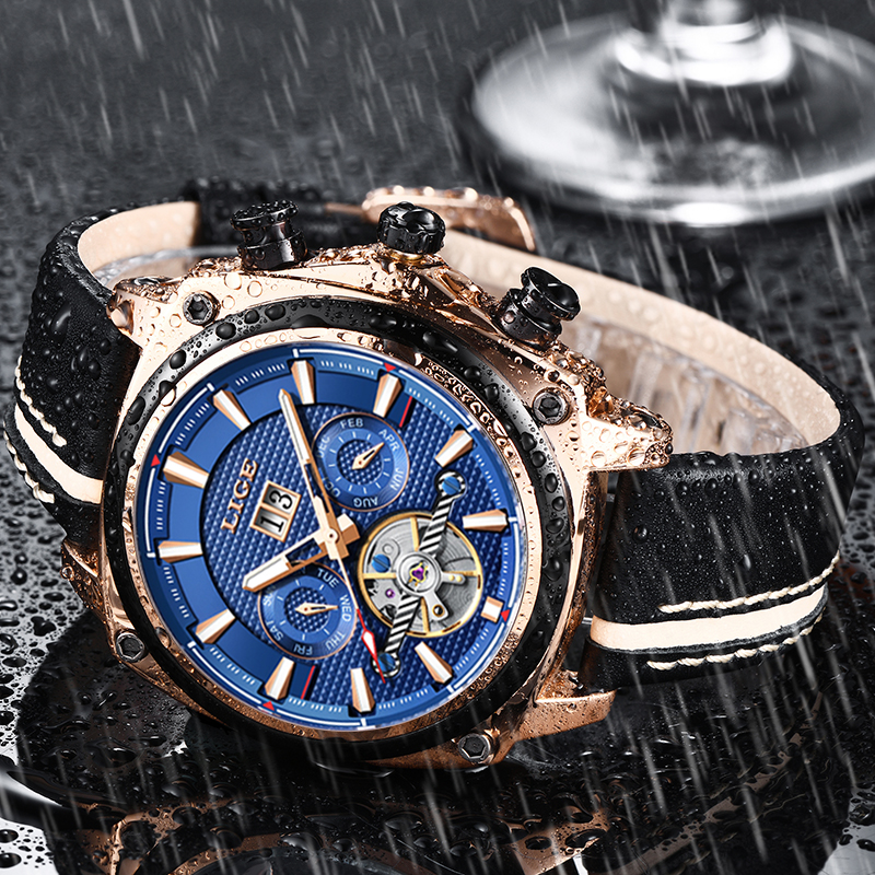 Relogio LIGE New Mechanical Men Watch Luxury Automatic Mechanical Watch Male Leather Waterproof Sport Watch Men Business ClockRelogio LIGE New Mechanical Men Watch Luxury Automatic Mechanical Watch Male Leather Waterproof Sport Watch Men Business Clock
