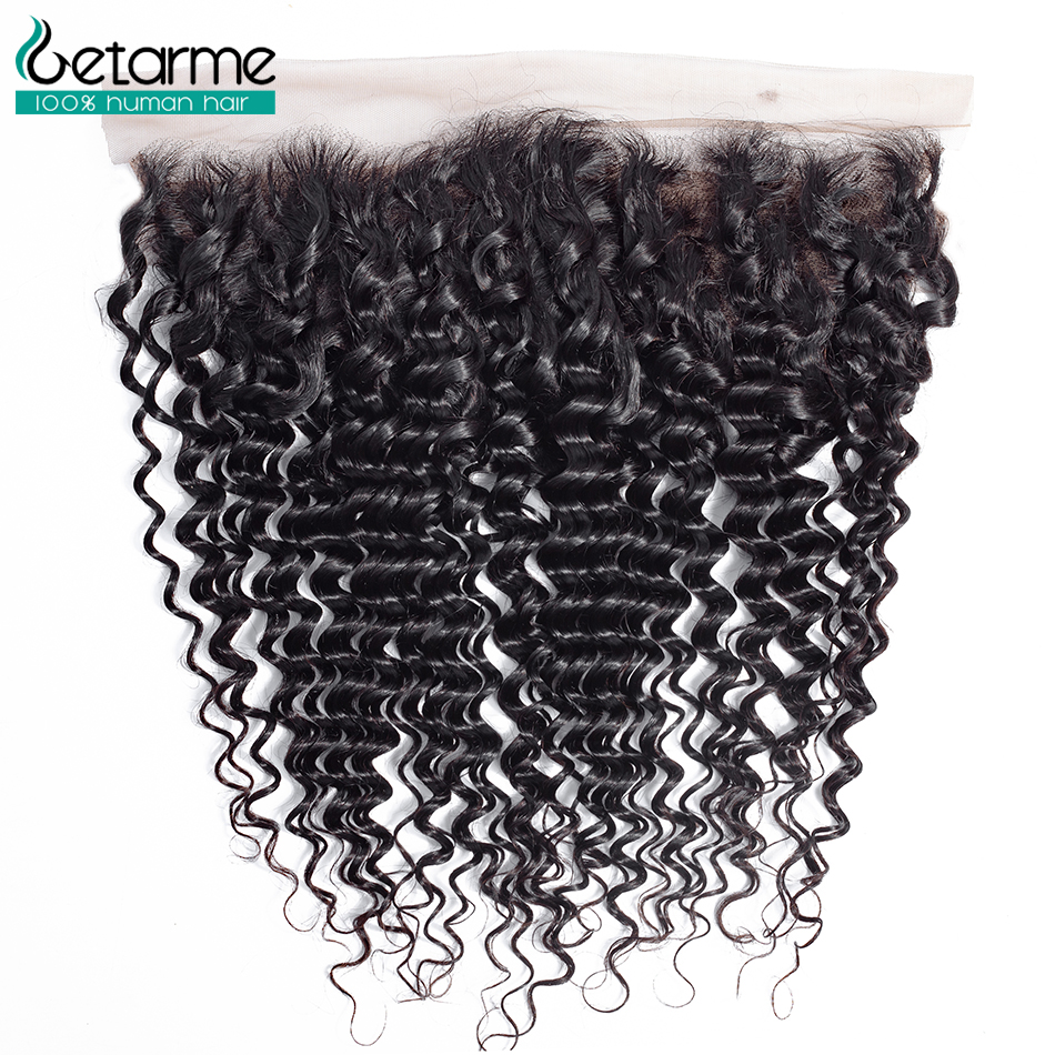 Getarme Hair Brazilian Deep Wave Frontal Non Remy Human Hair Free Part 13*4 Lace Frontal Closure With Baby Hair Natural Color