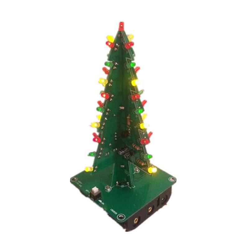 Трехмерная 3D Рождество Дерево LED DIY Kit красный/зеленый/желтый схема светодиодной вспышкой Запчасти электронный Fun Suite Рождественский подарок