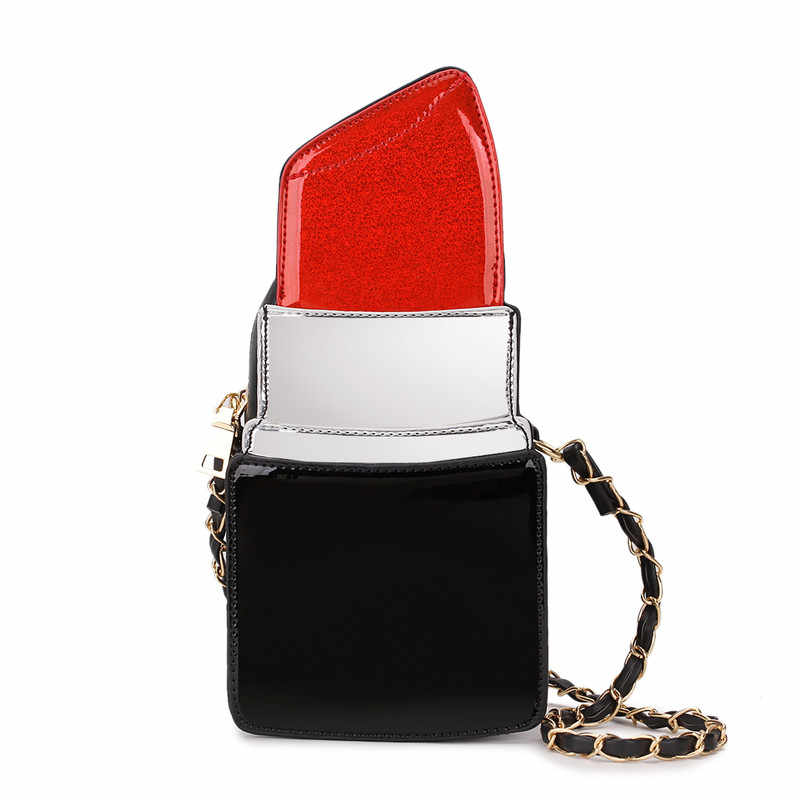 f87507a4a4 Fun new design pu leather lipstick modeling ladies shoulder bag handbag  chain casual purse crossbody messenger