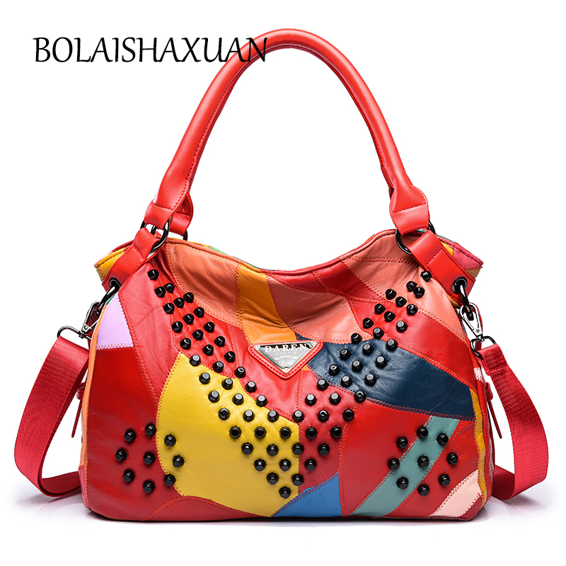 Panlled Genuine Leather Women Bags Handbags Famous Brand Bag Designer Crossbody Bag Rivets Luxury Women Bag
