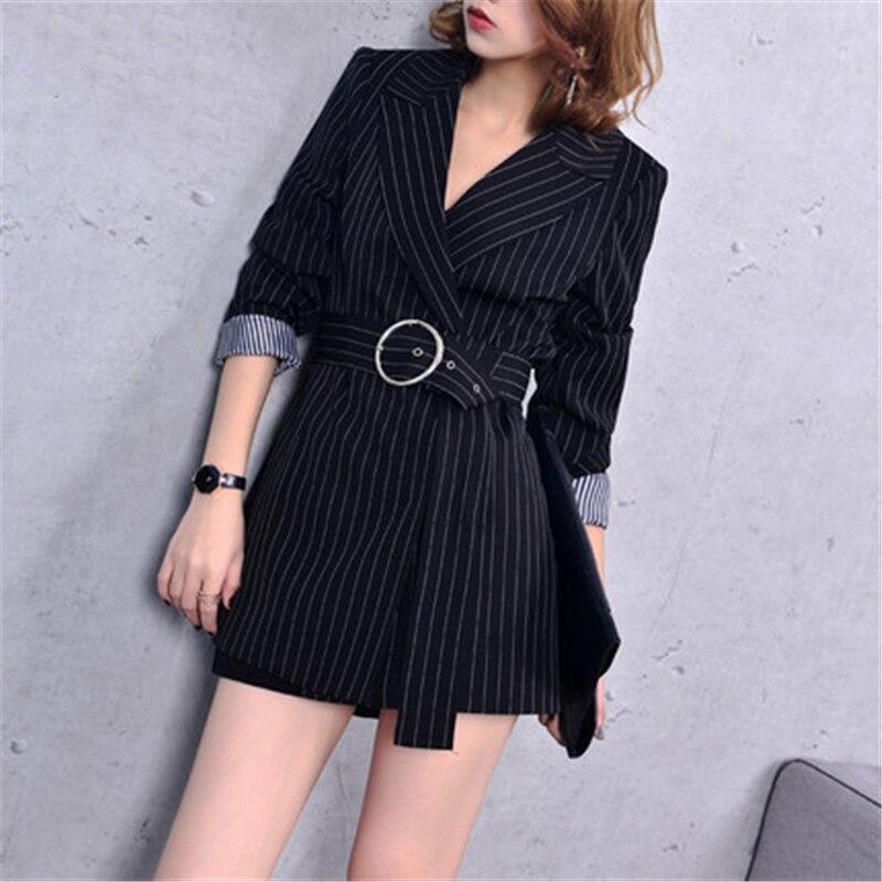 Mode haut de gamme rayure costume veste printemps été manteaux 2018 nouvelle ceinture taille Slim vêtements d'extérieur décontractés femmes longs Blazers A369